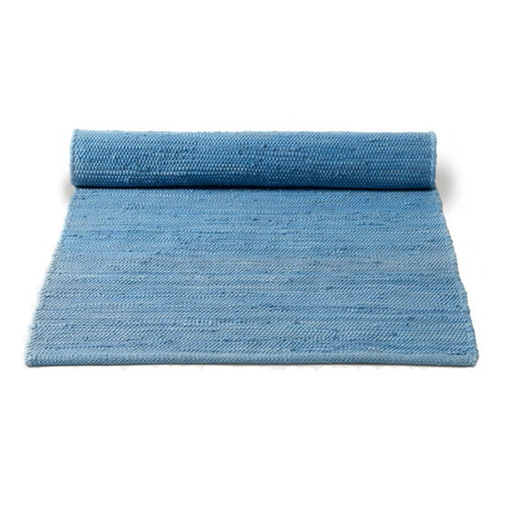 Blue And White Scandinavian Rug: Plain Blue Swedish Rag Rug
