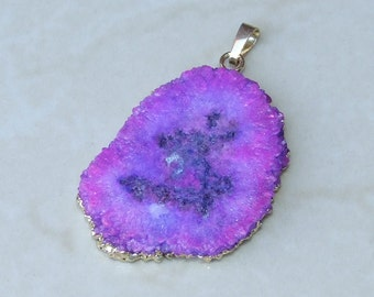 Purple Solar Quartz Pendant - Druzy Pendant - Gold Plated Edge and Bail - 35mm x 45mm - 1881