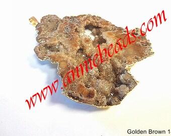 Beautiful Golden Brown Druzy Pendant