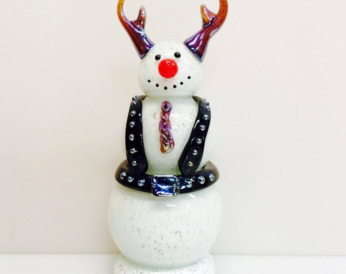 Leather Harness Hand Blown Snowman