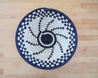Small African Basket // Rwanda Basket // Woven Basket // Midnight Blue, White