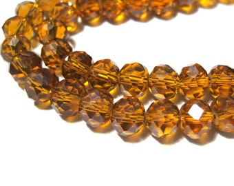 50pcs Amber Faceted Rondelle Glass Crystal Beads 8x6mm ( No. GR8)