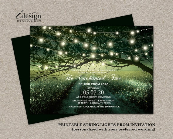 Enchanted Prom Invitation Printable Fairytale Forest Prom