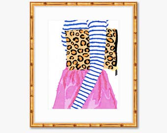 Pattern Play Fashion Print -- Prep Avenue Print Collection -- Watercolor Print -- Home Decor