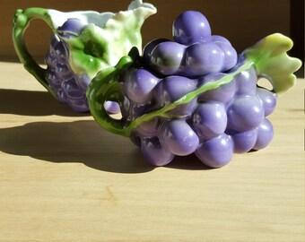 Royal Bayreuth  Grape Creamer and Sugar (dark purple) -  PRICE INCLUDES SHIPPING