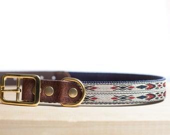 "Custom Leather Blue/White Dog Collar. Navajo White 1"""
