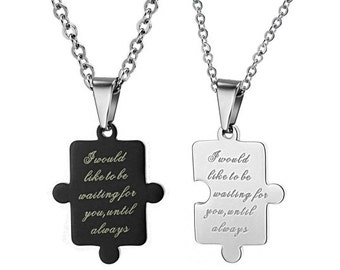 Waiting For You - Engraved Necklaces for Her / Personalized Necklaces for Him / Couples Necklaces / Custom Engraved