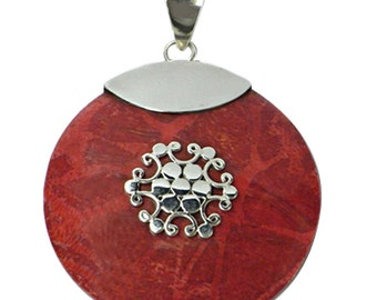Round Silver Pendant with coral, 32 mm Ø Eisblume almond pendant coral 925 Silver (No. AK-06)