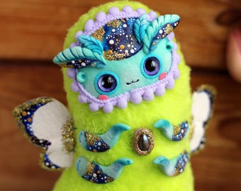kawaii plush toy cute fantasy doll ooak insect toy caterpillar art green toy soft space doll