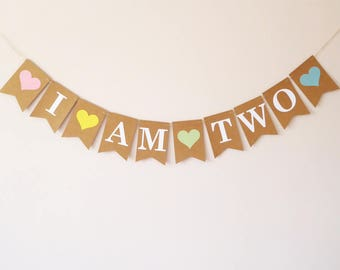 I am two birthday bunting party decoration, mint, light blue, pink, yellow