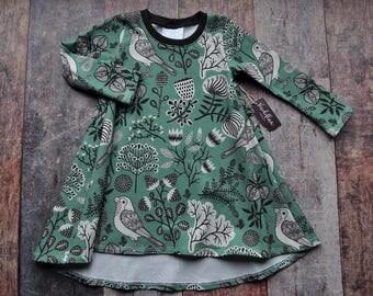 Baby Tshirt Dress - Organic Baby Dress - Toddler Tshirt Dress - Woodland Baby Dress  - Soft Knit Baby Dress - Organic Baby Clothing