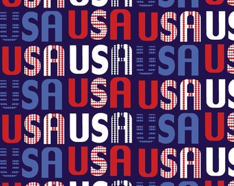 USA Fabric Fat Quarter, Third Yard, Half Yard, or By-The-Yard; 3599-77; Studio E; Patriotic Pride; Red White Blue