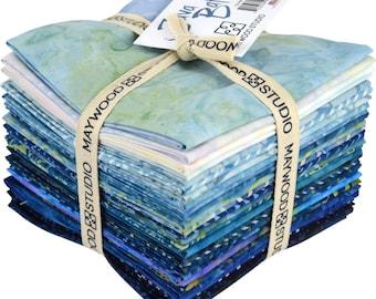 Fat Quarter Bundle - Java Batik River Set - 28 Fat Quarters Assorted Blue batik fabrics by Maywood Studio (JAB-RIV)