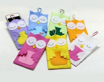 Owl phone case felt cover, handmade felt wallet phone case, iPhone cover, sleeve, ALL MODELS, made to order.