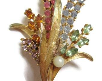 Brooch; Art Co. Brooch, Art-Mode Brooch, Floral Brooch, Gold Tone & Rhinestone Brooch, Signed Brooch, Vintage Brooch, 1960's