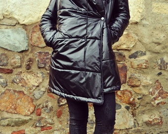 Extravagant Black Waterproof Jacket / Black Fleece Polar Lining Jacket / Funky Loose Jacket / Urban Asymmetrical Winter Jacket TC76