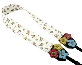 DSLR Camera Strap. Floral Camera Strap. Cute Camera Strap - Floral Print Fabric With Leather Flowers