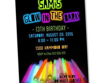 Glow in the dark party invitation, printable, Glow stick party, Neon party, Glow bowling