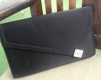 Vintage CROWN LEWIS black clutch evening bag with bling