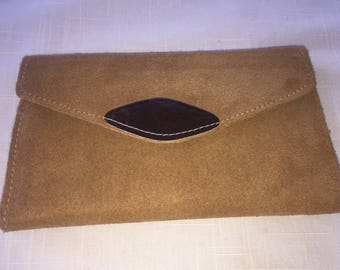 Vintage tan beige suede french wallet