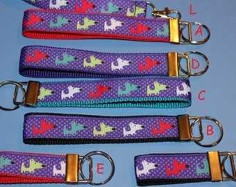 key fob, wristlet, keychain, lanyard - funny dogs on purple - M2134
