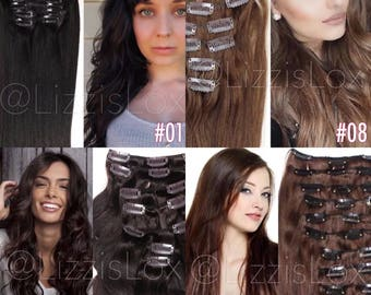 "20"" Clip-In Extensions 100% REMY Human Hair EXTRA THICK 100 / 150 / 200 / 250 grams Black light Brown dark brunette"