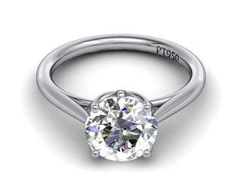 Forever One Moissanite Solitaire Engagement Ring Round Near Colorless Moissanite 1.90ct 14k White Gold Ring Pristine Custom Rings