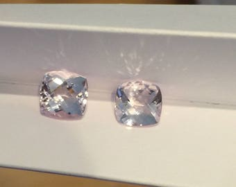 Cushion Cut Rare Pink Peach Morganite AAAAA+ Gem Loose Genuine Morganite Stones 8x8mm Pristine Custom Rings