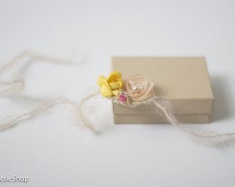 Cream Yellow Newborn Tieback, Newborn Baby Toddler Girl Headband, Baby Tieback, Organic Tieback, Photo Prop, Cream Organic Tieback
