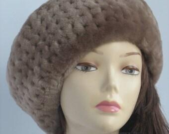 Womens beret tam ladies fur hat winter accessory womens Beret tam hat city womens soft hat gift handmade beret fur tam Beige beret