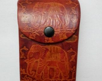 Vintage Brown leather Cigarette Case Thailand