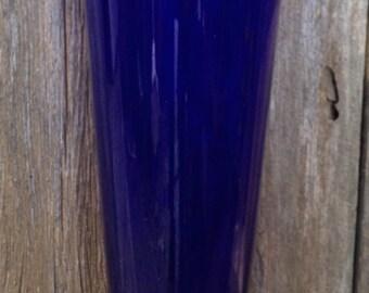 Vintage Hand Blown Cobalt Blue Vase with Ruffle Rim