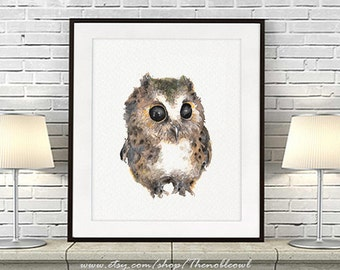 Baby owl print, watercolor owl painting, baby nursery animal, woodland animal nursery baby wall art nursery gift - R39
