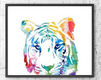 Colorful Tiger Print watercolor art jungle art safari art kids room decor, nursery art, nursery print, home decor - H110