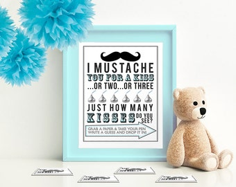 Blue I Mustache You for a Kiss -Game for Baby Shower 5x7 & 8x10 PDF  Instant download printable