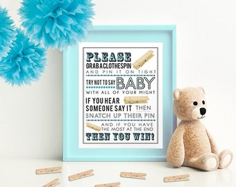 Blue Clothespin Game for Baby Shower (without bow ties) 5x7 & 8x10 PDF  Instant download printable