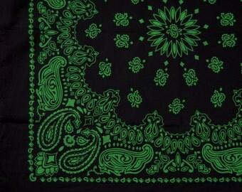 "Bandana - Black and Green Cotton 22"" Square Cowboy Style Paisley Bandana"