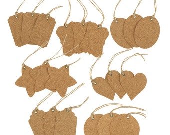 Natural Cork Gift Tags, Assorted Style, 21-Piece