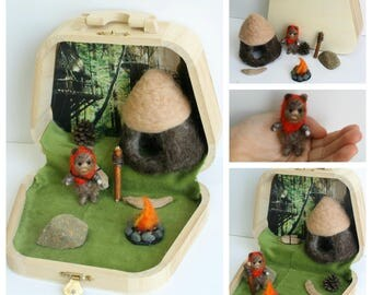 Tiny Ewok playset, needle felted Ewok, Star Wars, Ewok home
