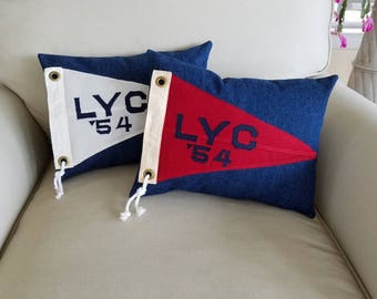 1954 LYC - Pair of nautical pillows made from vintage yacht club racing flags / burgees.
