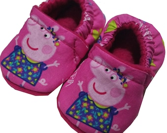 Peppa Pig Holiday Christmas Handmade Baby Girl's Boy's Shoes Slippers Booties Pink Size 0 - 24 M 3T-5T Baby Shower Gift