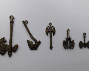 Bronze Weapon Axe Charm - Gaming, Film, Fantasy.