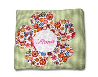 Blanket, snuggle blanket, blanket with name, baby blankets, flower, butterfly