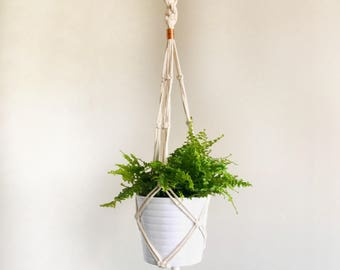 Natural Cotton Macrame Plant Hanger with Copper Beads