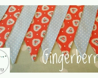 Gingerberry Bunting Cath Kidston red lace hearts pale blue spots shabby chic