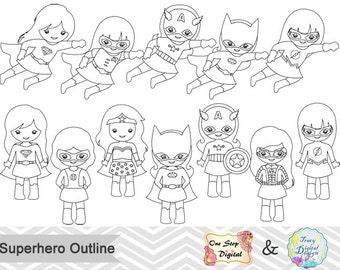 Black White Outline Superhero Girls Digital Clip Art, Superhero Outline Clipart, Girl Superhero Outline Clip Art, Outline Clipart 0236