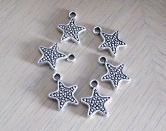 Star charm - silver star charm - antique silver plated pewter star charm - 12