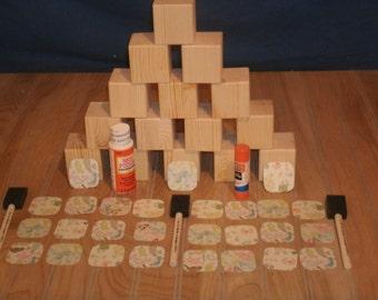 """26 - 2"""" baby block kit, wood block, unfinished wood blocks, wooden blocks, craft blocks, baby blocks,"""