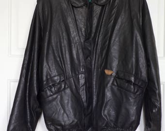 PIERRE CARDIN Bomber Leather Jacket Vintage Great Condition Italy retro