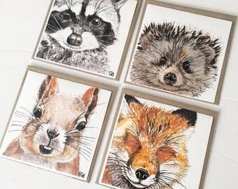 Blank Greeting card set squirrel fox raccoon  hedgehog print woodland greeting card nursery cute card